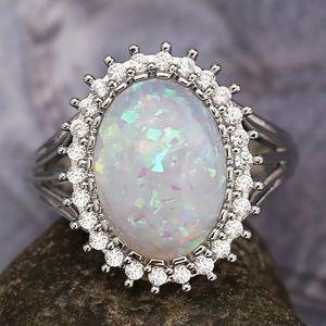 Jewelry - 925 Silver Women Oval Cut White Opal Ring